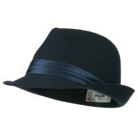 Fedora - Navy Fedora with Pleated Satin Band