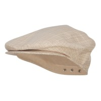 Ivy - Beige Men's Plaid Snap Back Ivy Cap