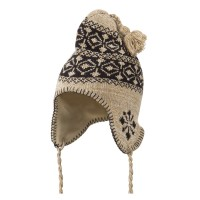 Beanie - Taupe Pattern Fleece Lined Ski Beanie