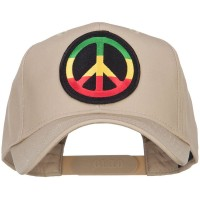 Embroidered Cap - Khaki Peace RGY Rasta Patched Cap