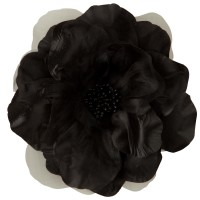 Pin , Badge - Black Q Flower Ribbon Pin