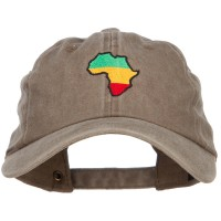Embroidered Cap - Khaki Rasta Africa Embroidered Cap
