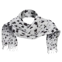 Scarf, Shawl - White Cotton Scarf with Stars