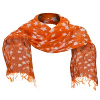 Scarf, Shawl - Orange Cotton Scarf with Stars