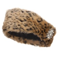 Band - Cheetah Fur Headband with Flower Stone