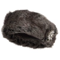 Band - Brown Fur Headband with Flower Stone