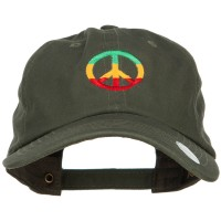 Embroidered Cap - Olive Rasta Peace Embroidered Cap