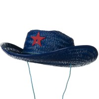 Western - Blue Solid Child Straw Cowboy Hat