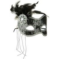 Face Mask - Silver Sequin Feather Mask
