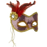 Face Mask - Pink Sequin Feather Mask