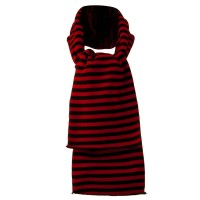 Scarf, Shawl - Red Black Stripe Stretch Scarf
