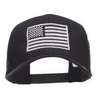 Embroidered Cap - Black Silver American Flag Embroidered Cap