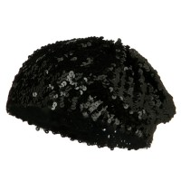 Beret - Black White Sequin Knitted Beret