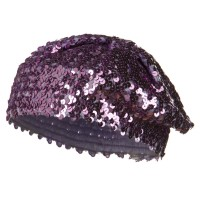 Beret - Lilac White Sequin Knitted Beret