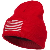 Beanie - Red USA Silver Flag Embroidered Beanie