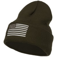 Beanie - Olive USA Silver Flag Embroidered Beanie