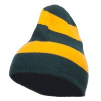Beanie - Green Gold Striped Knit Short Beanie
