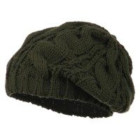 Beret - Olive Women's Thick Cable Knit Beret