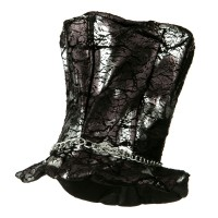 Costume - Black Silver Tall Hat with Chain