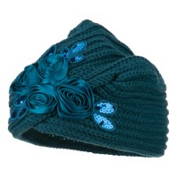 Wrap - Teal Flower Sequins Knit Turban