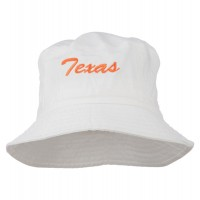 Bucket - White Texas Embroidered Dyed Bucket Hat