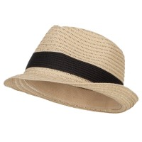 Fedora - Natural Black Women's Toyo Braid Fedora Hat