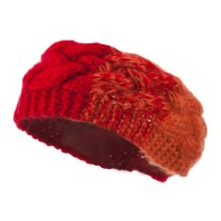 Band - Red Two Tone Acrylic Knit Head Band