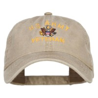 Embroidered Cap - Khaki US Army Veteran Embroidered Cap