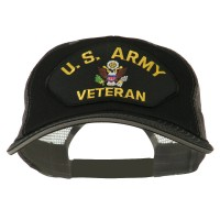 Embroidered Cap - Black Grey Army Veteran Patched Big Size Cap