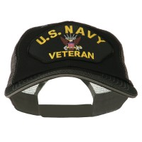 Embroidered Cap - Black Grey Navy Veteran Patched Big Size Cap