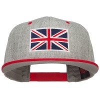 Embroidered Cap - Red Grey United Kingdom Flag Two Tone Cap