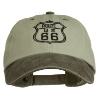 Embroidered Cap - Brown Route 66 Embroidered Washed Cap