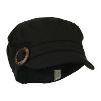 Cadet - Black Linen Army Cap Coconut Buckle