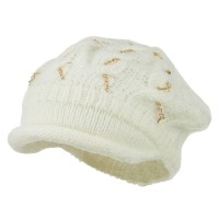 Beret - Ivory Rolled Beret Gold Chains