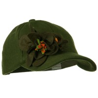 Ball Cap - Olive Wool Cap with Flowers