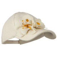 Ball Cap - Ivory Wool Cap with Flowers