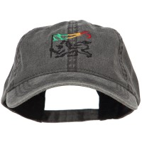 Embroidered Cap - Black Rasta Lion Flag Embroidered Cap