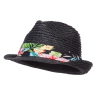 Fedora - Black Wheat Braid Floral Band Fedora