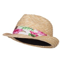 Fedora - Natural Wheat Braid Floral Band Fedora
