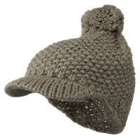 Beanie Visored - Grey Woman's Wool Knit Visor Beanie