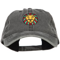 Embroidered Cap - Black Rasta Lion Embroidered Cap