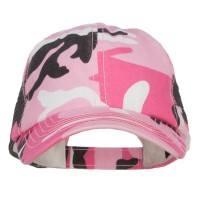 Ball Cap - Pink Camo Washed Camouflage Trucker Cap