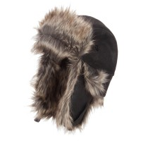 Trooper - Black Faux Leather and Fur Trooper Hat