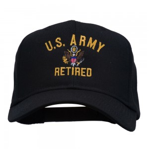 Embroidered Cap - Black US Army Retired Embroidered Cap