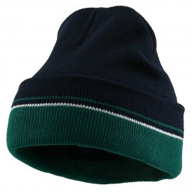 Two Tone Cuff Knitting Beanie - Navy Green