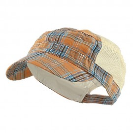 Fashion Plaid Mesh Army Cap - Orange