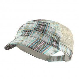 Fashion Plaid Mesh Army Cap - White