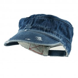 Enzyme Frayed Solid Army Caps-Denim