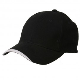 Deluxe Brushed Cotton Twill Caps-Black White