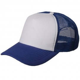 Cotton Trucker Cap-Royal White